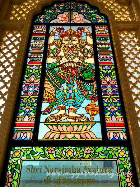 Narsingh avatar - stained glass window vedic art gallery - ISKCON Jaipur, Rajasthan