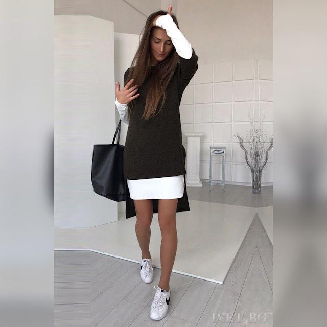 Γυναικείο άσπρο με μαύρο σύνολο LORENITA BLACK - Φόρεμα και τουνίκ