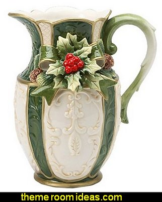 Emerald Holiday Holly Pitcher