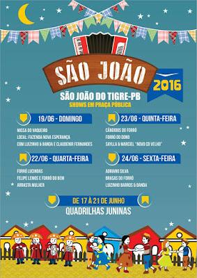 Prefeitura divulga programação do São João 2016 de São João do Tigre