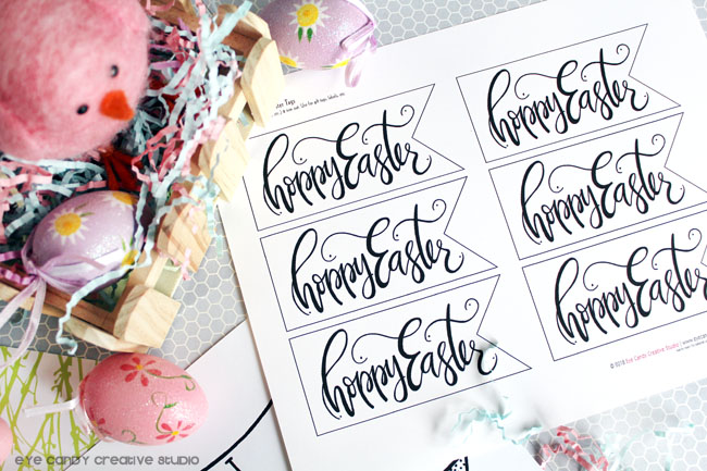 hand lettered, easter tags, hoppy easter, easter eggs, free easter download