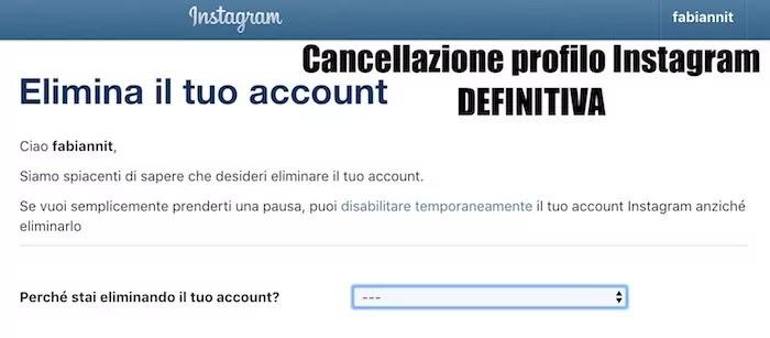 pagina per cancellare il profilo instagram definitivamente