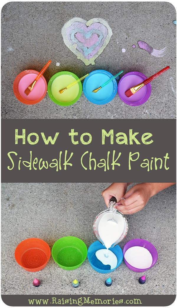 DIY Sidewalk Chalk Paint Recipe by www.RaisingMemories.com