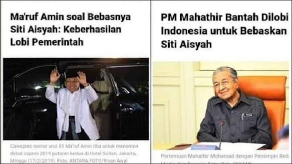 Klaim Pembebasan Siti Aisyah Bikin Malu Indonesia