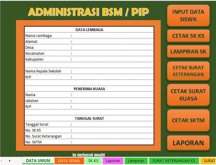 Aplikasi Adinistrasi Bsm Pip Otomatis Format Excell
