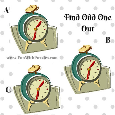 Odd One Out Picture Puzzle Clock