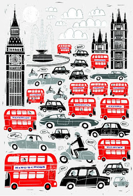 Red and black London traffic design