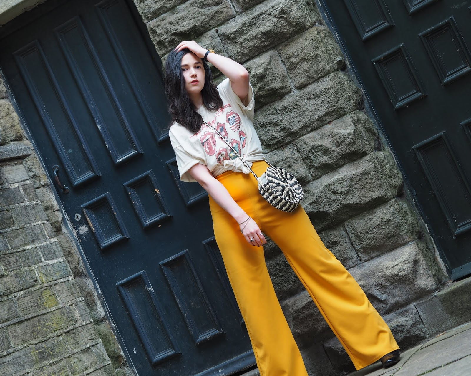 yellow flared trousers
