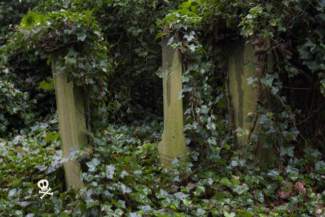 En vez de varios nombres en una única lápida, algunas tumbas tienen varias lápidas con un único nombre.