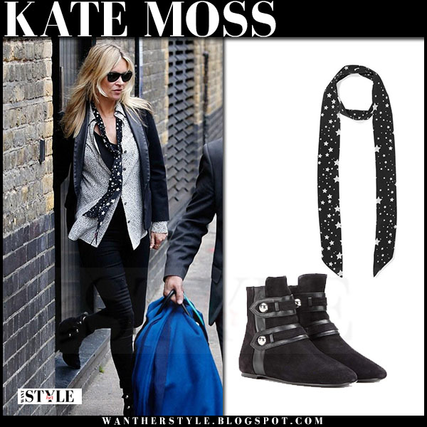 Kate Moss in black blazer, black jeans with black isabel mar ant roddy ankle boots what she wore street style