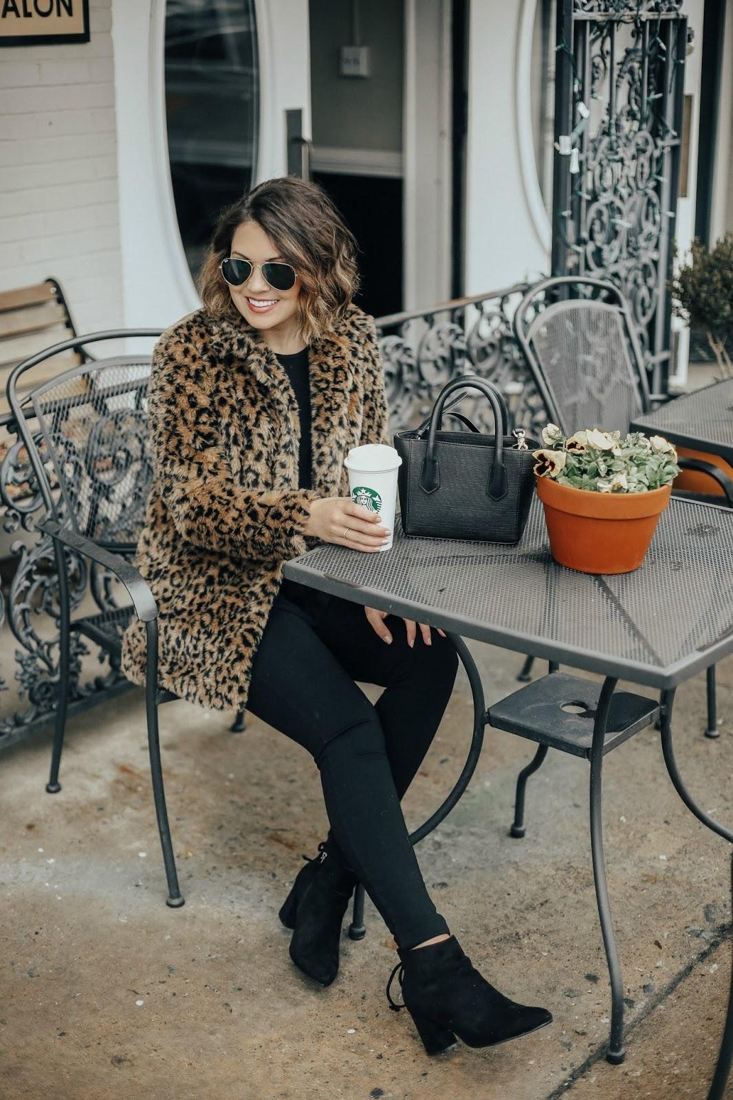 budget leopard coat, xo samantha brooke, life and messy hair, samantha brooke