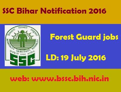 BSSC jobs: SSC Notification recruitment 2016 forest guard posts bssc.bih.nic.in