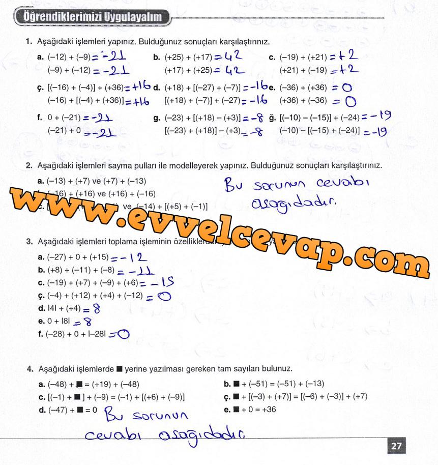 7. Sınıf Matematik Koza Yayınları 21. Sayfa Cevapları için tıklayınız.