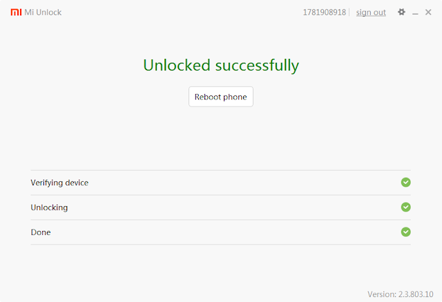 Unlock bootloader xiaomi successfull