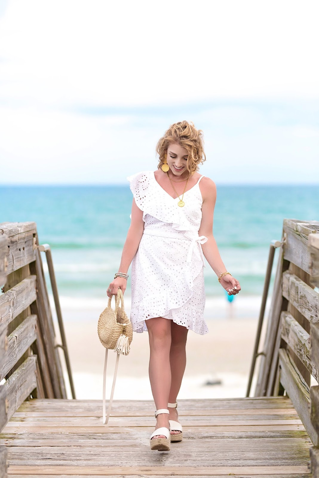 Under $100 White Eyelet Wrap Dress - Something Delightful Blog
