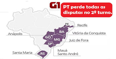 PT perde as 7 disputas no 2º turno