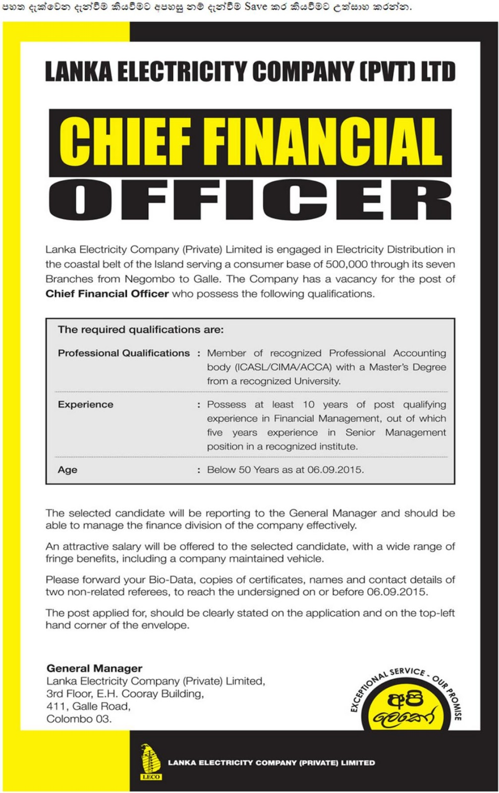 Chief financial officer leco - Chief financial officer cfo ...