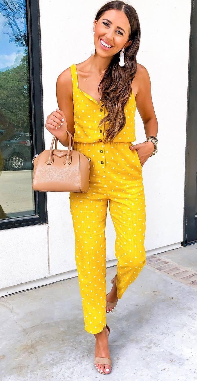 casual outfit inspiration / polka dots jumpsuit + handbag + heels