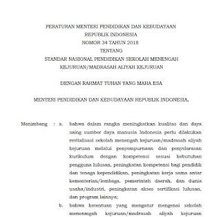 Kementerian Pendidikan dan Kebudayaan telah menebitkan  Download Permendikbud Nomor 34 Tahun 2018