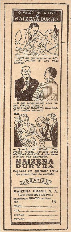 Campanha da Maizena veiculada nos anos 50 com dicas de alimentação para mãe e crianças