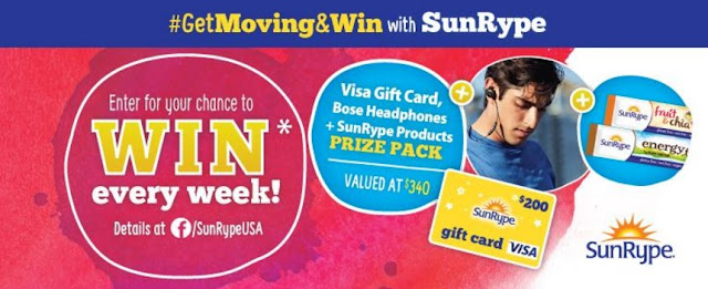 Get Moving and WIN with SunRype! Check out our Weekly #GiveAway to Win 1 of 6 prize packs including: SoundSport Bose Headphones, a $200 Visa Gift Card & SunRype Snacks!