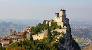 The extraordinary fortress of Guaita in San Marino stands at the top of one of Mount Titano's three peaks