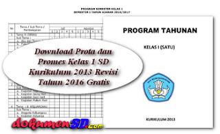 Download Prota dan Promes Kelas 1 SD Kurikulum 2013 Revisi Tahun 2016 Gratis
