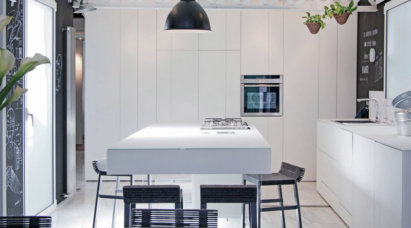 cucina a isola bianca