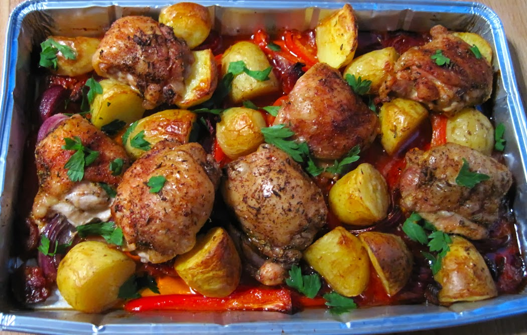 Chicken with Chorizo Peppers and Potatoes