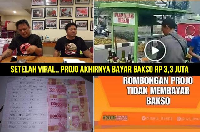 Setelah Viral, Projo Akhirnya Bayar Bakso Rp 3,3 Juta