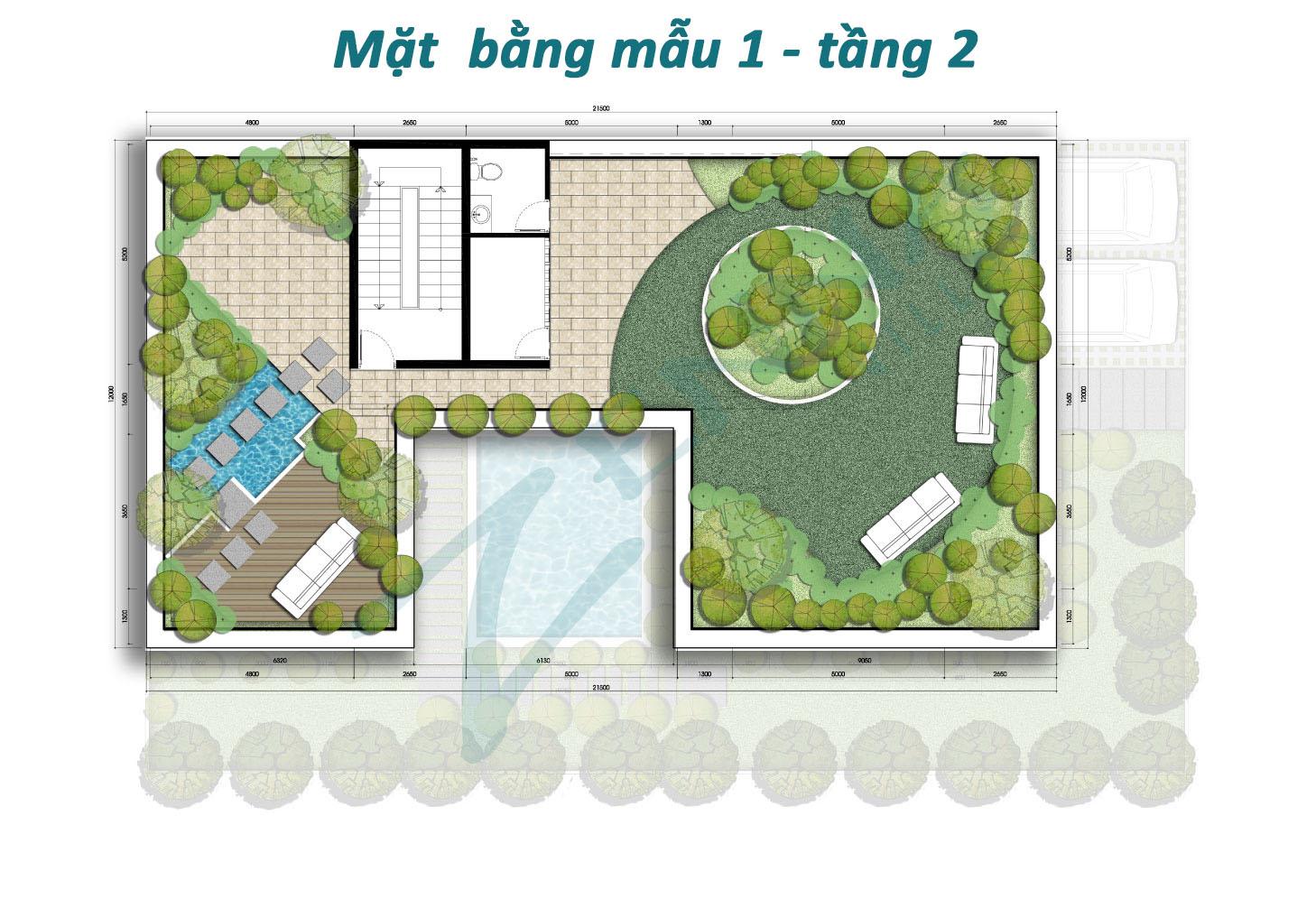 Mặt bằng tầng 2 mẫu 1 biệt thự Zenna Villas