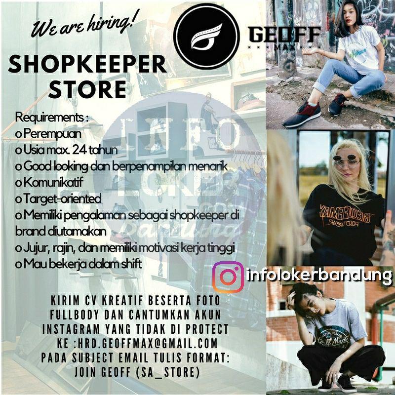 Lowongan Kerja Shoopkeeper Store Geoff Max Footwear Oktober 2017