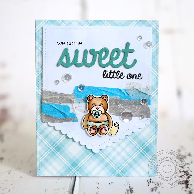 Sunny Studio Stamps: Baby Bear Boy Card by Lexa Levana (using Fishtail Banners II & Sweet Word die)
