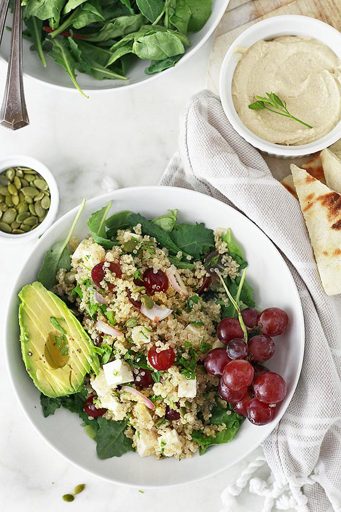 Quinoa Salad Recipe with Grapes, Feta, Kale