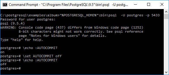 Autocommit in PostgreSQL's Psql - DZone Database