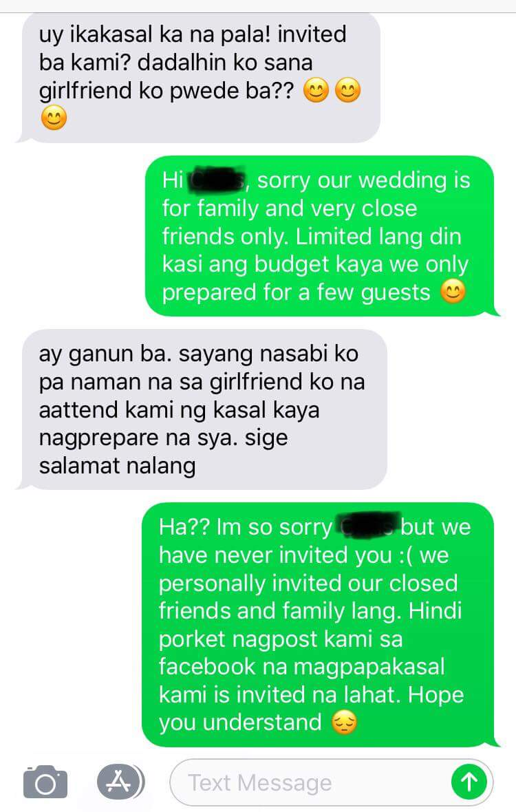 Netizen shares friendly reminder to attend weddings only when invited