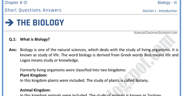 Biology answers online