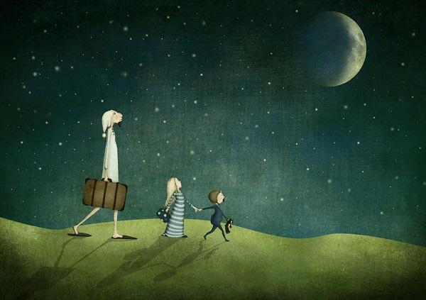por Maja Lindberg | ilustraciones imaginativas, infantiles, sentimientos y emociones, imagenes bonitas, illustration art, cool stuff, moon.