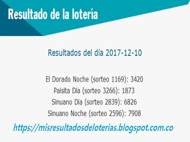 Como jugo la lotería anoche | Resultados diarios de la lotería y el chance | resultados del dia 10-12-2017