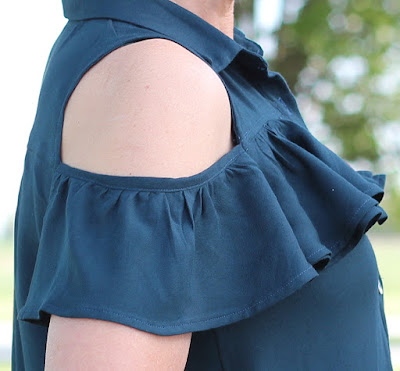 A Mimi G pattern, Simplicity 8341, made as a top with Style Maker Fabrics' rayon twill. - sleeve ruffle