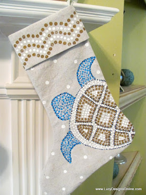 sea turtle beach coastal Christmas stocking