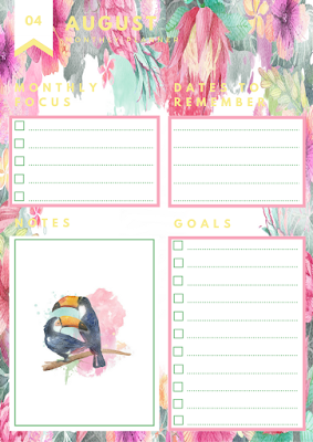 august monthly planner