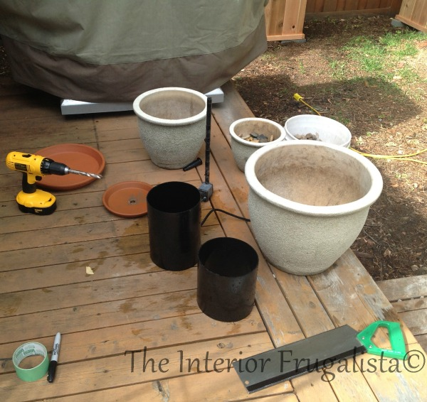 Materials To Turn Plant Pots Into A Water Fountain