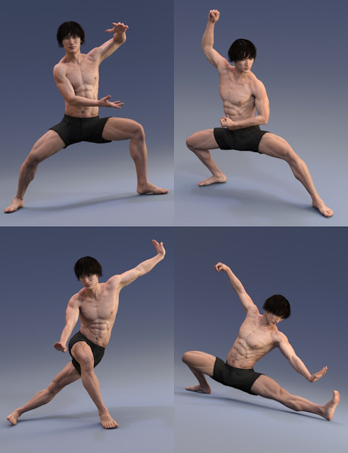 WuShu Monk Poses for Genesis 3 Male