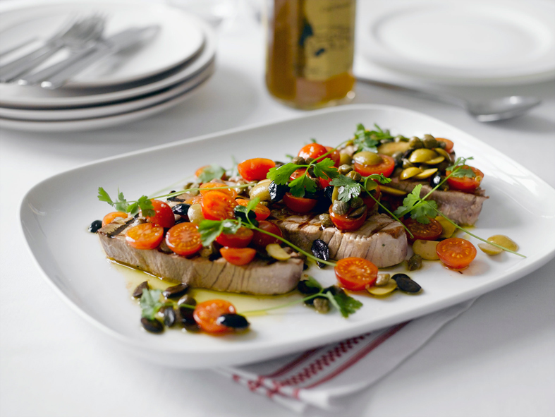 Tuna steaks with tomato and caper dressing