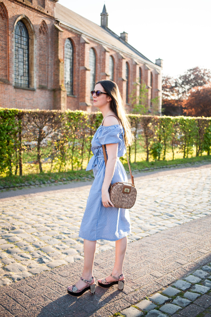 Outfit: Zara off-shoulder dress, Zinda platform sandals