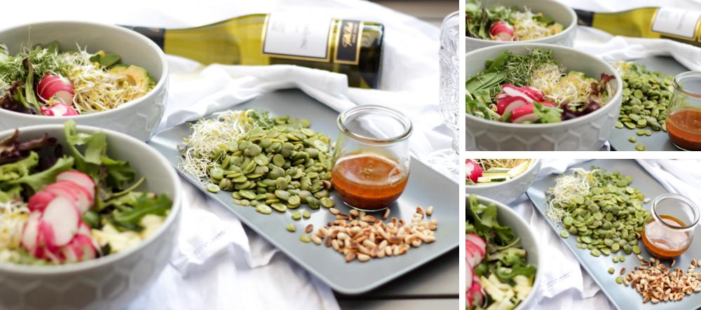 Rezept Salat Dicke Bohnen Avocado Ingwer Radieschen Sprossen