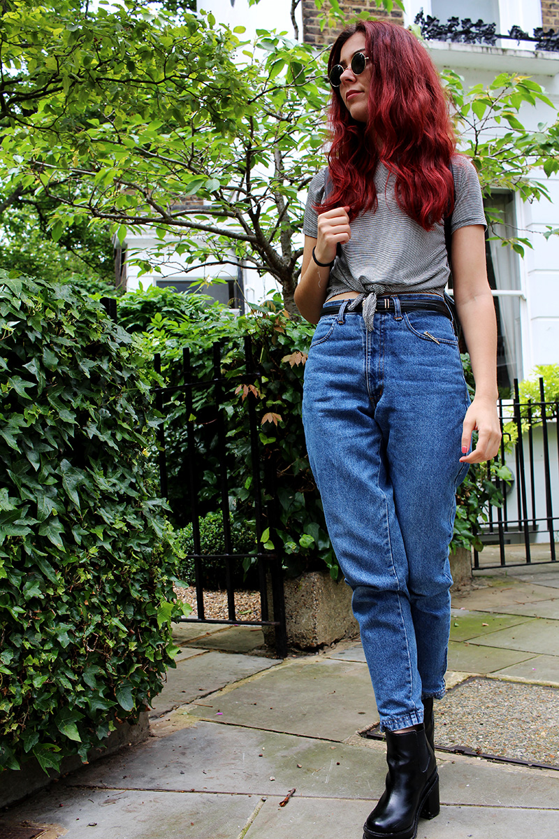 ootd, outfit, red hair, grunge, rock n roll, blues, country, hippy, primark, how to wear, party, london, leather, jean,