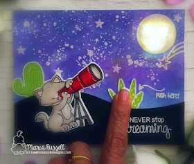 Star gazing Kitty light-up card by Maria Russell | Cosmic Newton Stamp Set by Newton's Nook Designs with Chibitronics lights | #newtonsnook #chibitronics