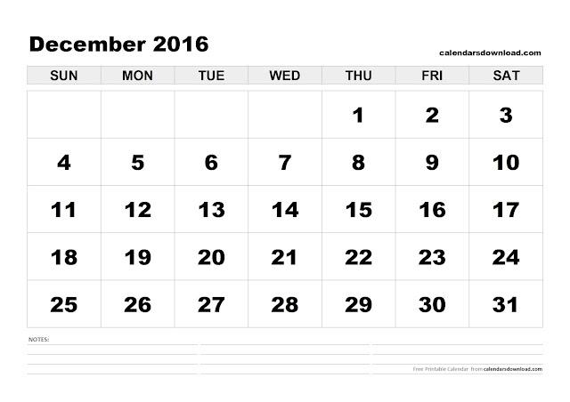 December 2016 Printable Calendar, December 2016 Calendar PDF, December 2016 Calendar Excel, December 2016 Calendar Word